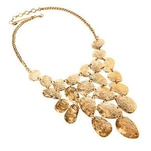 AMRITA SINGH Gold Tone Hammered Finish Necklace